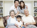Asian family portrait of a three generation Royalty Free Stock Image