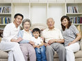 Asian family portrait of a three generation Stock Photo