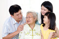Asian family senior women talking with his son Stock Photos