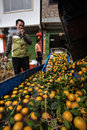 Asian farm worker unloads crop of oranges in cleansing bath yangshuo guangxi china march chinese farmer watching unloading the Royalty Free Stock Photo