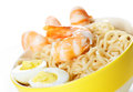 Asian fast food noodle b close up chines in plate with shrimps and eggs Royalty Free Stock Photo