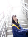 Asian femal gratulate looking forward for future in campus Royalty Free Stock Photo