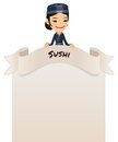 Asian female chef looking at blank menu on top in the eps file each element is grouped separately isolated white background Royalty Free Stock Images