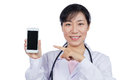 Asian female doctor using mobile phone Royalty Free Stock Photo