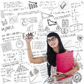 Asian female student write on whiteboard is writing formula holding red folder Stock Images