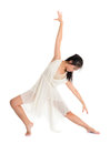 Asian female teen contemporary dancer modern poses in front of the studio background full length white Royalty Free Stock Photography