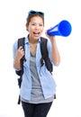 Asian female traveler yell with megaphone Royalty Free Stock Photo