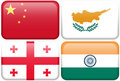 Asian Flag Buttons: China, Cyprus, Georgia, India Royalty Free Stock Photo