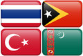 Asian Flag Buttons: Thailand, Timor Leste, Turkey Royalty Free Stock Photography