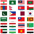 Asian flags vector illustration of the of different countries of the world they are organized by location then in alphabetical in Royalty Free Stock Images