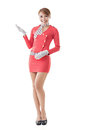 Asian flight attendant portrait full length isolated Royalty Free Stock Images