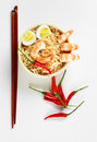 Asian food background close up chines noodle in plate with shrimps and eggs Stock Images