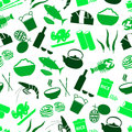Asian food theme set of icons seamless green pattern eps10 Royalty Free Stock Photo