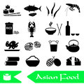 Asian food theme set of simple icons