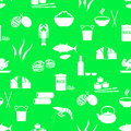Asian food theme set of simple icons green seamless pattern eps10
