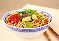 Asian fried noodles with chopsticks Royalty Free Stock Photo