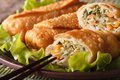 Asian fried spring rolls sliced on a plate macro, horizontal Royalty Free Stock Photo