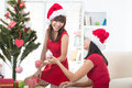 Asian friend lifestyle christmas photo an Royalty Free Stock Photos