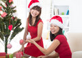 Asian friend lifestyle christmas photo an Stock Photography