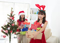 Asian friend lifestyle christmas photo an Royalty Free Stock Image