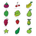 Asian fruits cartoon icons Royalty Free Stock Photo