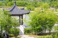 Asian garden with pavilion east Royalty Free Stock Photos