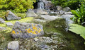 Asian garden with pond japanese stones and waterfall Stock Photo