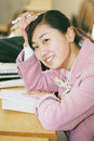 Asian girl in classroom Stock Photo