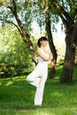 A asian girl doing yoga Royalty Free Stock Photo