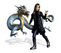 Asian Girl with Dragon - includes clipping path Stock Photo