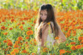 Asian girl in the flower Stock Images