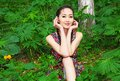 Asian girl in forest foto model birches Stock Photography