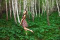 Asian girl in forest foto model birches Stock Photo