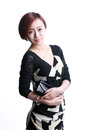 Asian girl holding a purse hand ready to go shopping Royalty Free Stock Image