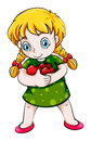An asian girl hugging three apples illustration of on a white background Royalty Free Stock Image