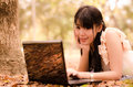Asian girl with laptop Stock Photos
