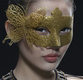 Asian girl mask beautiful in gold Royalty Free Stock Photo
