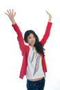 Asian girl raise arms Stock Photos
