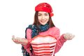 Asian girl with red christmas hat smile open shopping bag isolated on white background Royalty Free Stock Photo