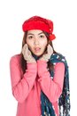 Asian girl with red christmas hat surprise Lizenzfreie Stockbilder
