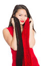 Asian girl with a red scarf mixed race caucasian Royalty Free Stock Photos