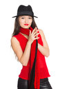Asian girl with a red scarf mixed race caucasian Royalty Free Stock Photography