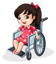 An asian girl riding on a wheelchair illustration of white background Royalty Free Stock Photos