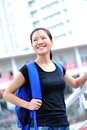 Asian girl student in campus happy smiling Stock Photos