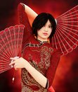 Asian girl with Traditional Chinese fan