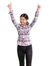 Asian girl with well done winning concept shows both hands Royalty Free Stock Photos