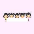 Asian girls with blank banner welcoming white Royalty Free Stock Photo