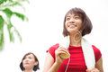 Asian girls running Royalty Free Stock Photo