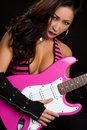 Asian Guitar Woman Stock Photos