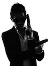 Asian gunman killer portrait silhouette one in isolated white background Stock Photo